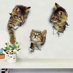 Αυτοκόλλητο διακοσμητικό 20cm x 15cm τοίχου 3D CATS ΣΕΤ